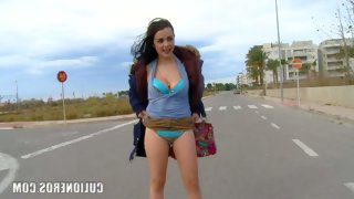 Hot spanish chick claudia flashes her bra and..