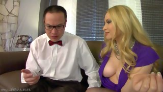 Elegant blonde milf aiden starr in dress and..
