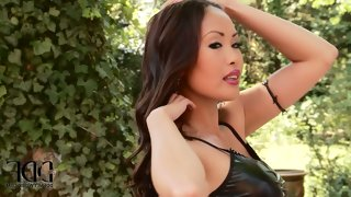 Asian bombshell danika in black leather mini..
