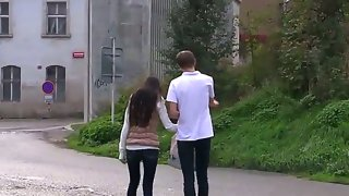 Paula o met her friend outside while taking a..