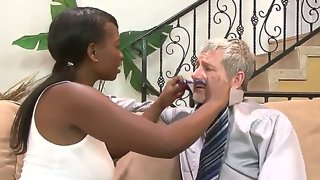 Amazing interracial scene with american old