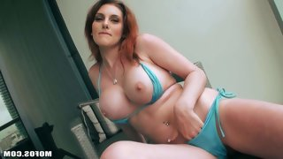 Curvy redhead rainia belle displays her big..