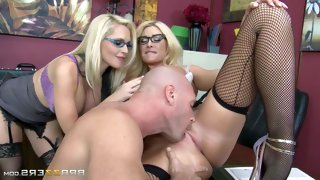 Big racked blondes with glasses team up to share..
