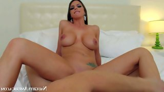 Dark haired and stunning brooklyn chase enjoys..