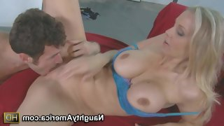 Julia ann bares her huge boobs and opens her legs